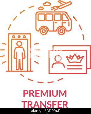 Premium transfer concept icon. Airline passenger luxury transport idea thin line illustration. Airport shuttle bus, VIP service benefit. Vector - Stock Photo