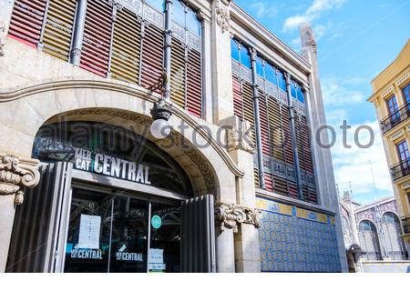 Valencia, Spain; 1st apr 2020: Façade and access door to the interior of the Central Market of Valencia. The Central Market is a historic building and - Stock Photo