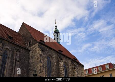 A spire in the tower of a medieval gothic church (Prague, Czech Republic, Europe)