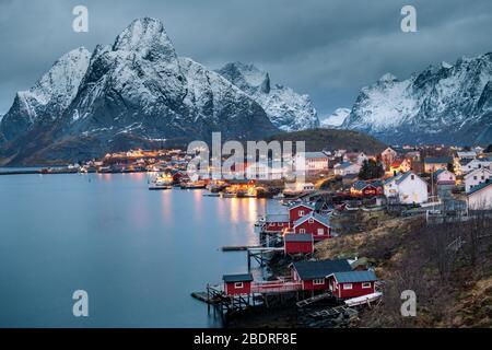 Beautiful Reine fishing village in Lofoten Islands in Winter, Norway