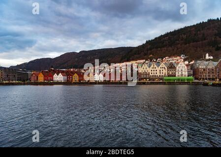 A usually popular tourist destination Bryggen a World heritage site UNESCO in Bergen, Norway during the covid-19 epidemic 2020 Easter time.
