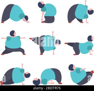 Set of fuuny fat woman doing yoga exercises in warrior, car, camel, plank, boat and others asana. - Stock Photo