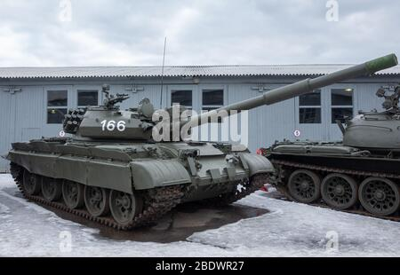 March 23, 2019 Moscow region, Russia. Soviet medium and main tank of the second half of the XX century T-62M in the Central Museum of armored weapons Stock Photo