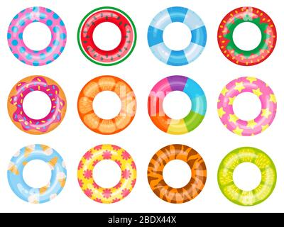 Rubber swimming ring. Pink lifesaver, summer swimming pool floating rings. Rainbow rescue ring top view cartoon vector illustration set - Stock Photo