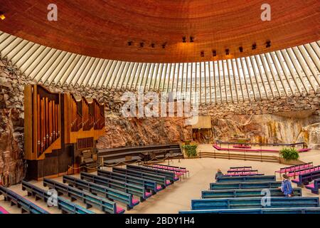 Rock Church or Temppeliaukio Church in Helsinki, Finland - Stock Photo