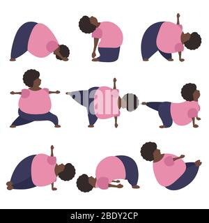 Set of funny fat african american woman doing yoga exercises in warrior, car, camel, plank, boat and others asana. - Stock Photo