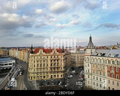Czech Republic, Prague, View from Dancing House, Moldovan river Stock Photo