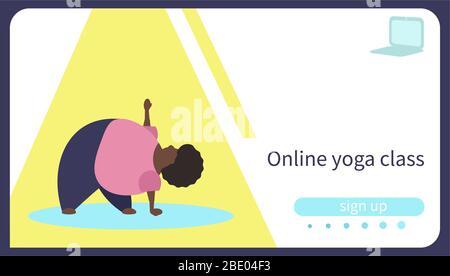 Card for online yoga lesson. Body positive african american woman practicing yoga doing Trikonasana - Stock Photo