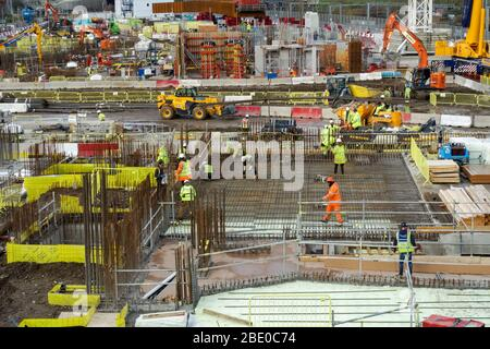Construction site of East Bank Stratford Waterfront in London, England United Kingdom UK - Stock Photo