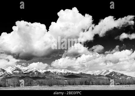 Black & white of snow capped Angel of Shavano; Mt. Shavano; Collegiate Peaks; Rocky Mountains; central Colorado; USA - Stock Photo