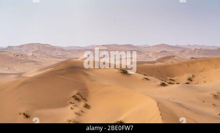 aerial view of sand dunes in the Namibian desert - Stock Photo