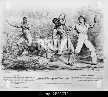 Effects of the Fugitive Slave Law: white men are shown shooting and killing escaped slaves. The Fugitive Slave Law was passed by the United States Congress on September 18, 1850. The Act was one of the most controversial elements of the 1850 compromise and heightened Northern fears of a slave power conspiracy. It required that all escaped slaves, upon capture, be returned to their masters. At the time of Fugitive Slave catchers the North was moving more in the direction of abolition. The Fugitive Slave Law stated that every citizen was responsible for helping to recover and return fugitive sla - Stock Photo