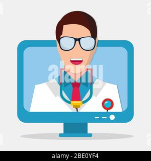 virtual doctor online consultation concept symbol isolated vector illustration - Stock Photo