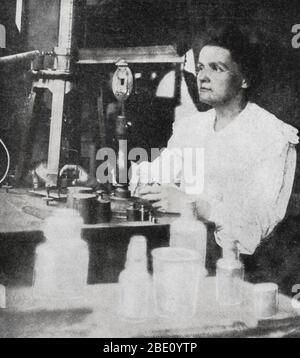 Marie Curie (November 7, 1867 - July 4, 1934) was a Polish-French physicist and chemist famous for her pioneering research on radioactivity. She was the first person honored with two Nobel Prizes; physics and chemistry. She shared her 1903 Nobel Prize in Physics with her husband Pierre Curie and with the physicist Henri Becquerel. She was the sole winner of the 1911 Nobel Prize in Chemistry. Curie was the first woman to win a Nobel Prize, the only woman to date to win in two fields, and the only person to win in multiple sciences. Her achievements included a theory of radioactivity (a term tha - Stock Photo