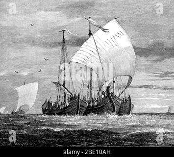 Vikings were Norse seafarers who from their homelands in Scandinavia raided, traded, explored, and settled in wide areas of Europe, Asia, and the North Atlantic islands from the late 8th to the middle 11th centuries. The Vikings employed wooden longships with wide, shallow-draft hulls, allowing navigation in rough seas or in shallow river waters. The ships could be landed on beaches, and their light weight enabled them to be hauled over portages. These versatile ships allowed the Vikings to settle and travel as far east as Constantinople and the Volga River in Russia, as far west as Iceland, G - Stock Photo