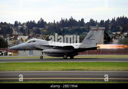 An Oregon Air National Guard F-15C Eagle takes off from the Portland Air National Guard Base Oct. 2, 2010. - Stock Photo