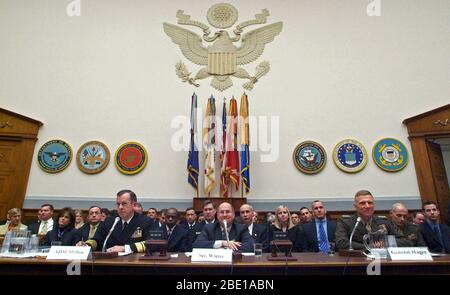 US Navy (USN) Top Officials appear before the House Armed Services Committee to give testimony and answer questions concerning the 2007 fiscal year National Defense Authorization budget request. Pictured foreground left-to-right: Chief of Naval Operations (CNO) USN Admiral (ADM) Michael G. Mullen, Secretary of the Navy (SECNAV), the Honorable Donald C. Winter and Commandant of the Marine Corps (CMC) US Marine Corps (USMC) General (GEN) Michael W. Hagee. - Stock Photo