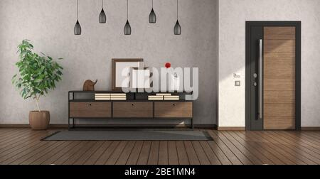Modern Home Entrance With Armored Door Sideboard And Armchair 3d Rendering Stock Photo Alamy