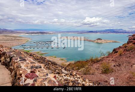 View of Lake Mead. It is a man-made lake that lies on the Colorado river. Formed by the Hoover Dam, it is the largest water reservoir in US. - Stock Photo