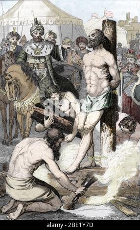 Le roi de Lydie Cresus (596-546 avant JC) prisonnier des sardes apres la bataille de Thymbree est mis sur le bucher par le roi Cyrus le Grand qui fini - Stock Photo