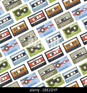 Cassette with music, tapes with audio seamless pattern - Stock Photo