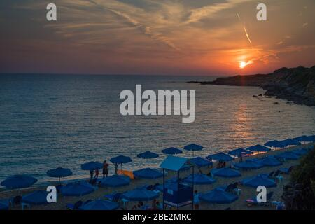 Majestic sunset view with beautiful colors from Ammes beach in Argostoli Kefalonia, Greece