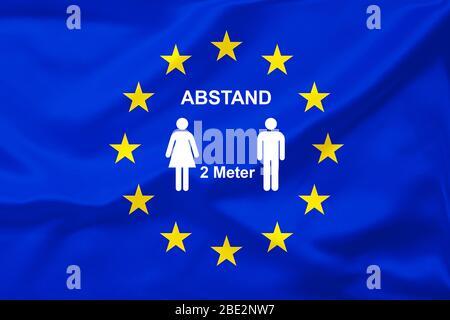 Brexit, Euroflagge, Flagge, EU-Fahne,  Eurostars, 2 Meter Abstand, Coronavirus, Corona, Virus, Pandemie - Stock Photo