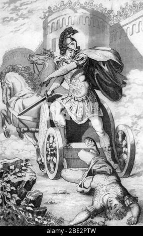 Guerre de Troie : 'Achille victorieux sur son char traine le corps d'Hector' (Trojan war : Triumphant Achilles dragging Hector's lifeless body in fron - Stock Photo