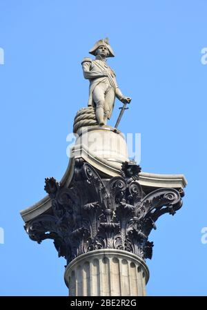 Statue of Admiral Nelson on Trafalgar Square in London, UK. - Stock Photo