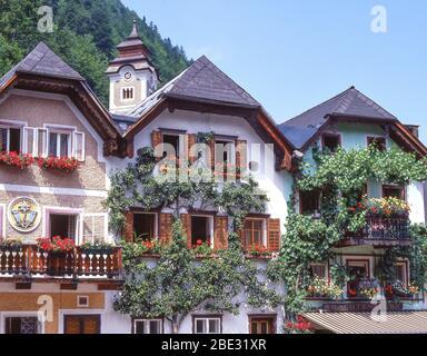 Shuttered frontages in Town Square, Hallstatt (Hoistod), Salzkammergut, Upper Austria, Republic of Austria