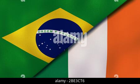 Two states flags of Brazil and Ireland. High quality business background. 3d illustration - Stock Photo