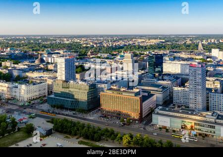WARSAW, POLAND - JMAY 07, 2018. Aerial drone view from above of city center skyline. - Stock Photo