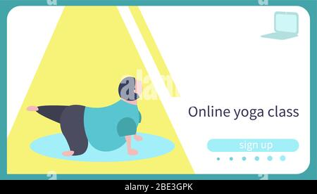 Card for online yoga lesson. Body positive caucasian woman practicing yoga doing Trikonasana - Stock Photo