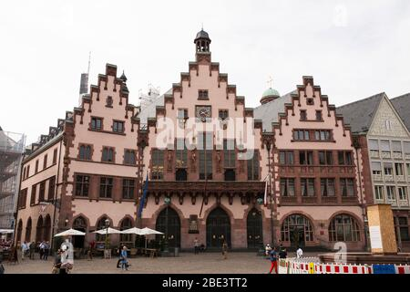 The Römer, a medieval building with a stepped gable facade that serves as town hall in Frankfurt, Germany. The building was restored after WWII.