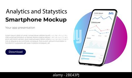 Analytics and statistics business admin dashboard for market analysis. User interface screen of user interface for smartphone - Stock Photo