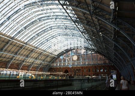 Inside St Pancras station on Euston Road in London, England, United Kingdom. - Stock Photo