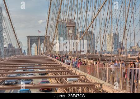 Overcrowded Brooklyn Bridge in New York - Stock Photo
