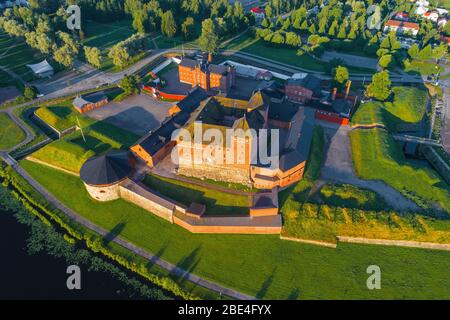 Top view of the old fortress of Hameenlinna on a sunny July morning. Finland - Stock Photo