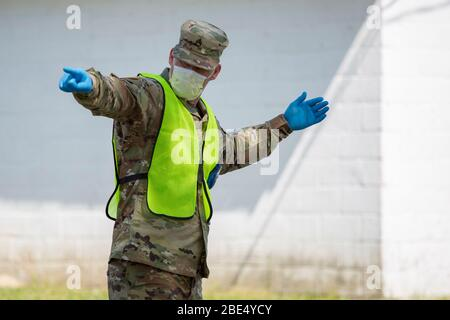 RIPLEY, USA - 10 Apr 2020 - U.S. Army Staff Sgt. Robert Wilson, a cavalry scout assigned to Troop B, 1st Squadron, 98th Cavalry Regiment, Mississippi - Stock Photo