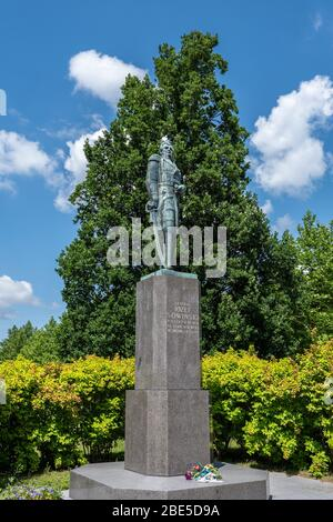 Jozef Sowinski Monument in Park Sowinskiego in Wola district of Warsaw city in Poland, Polish artillery general, hero of November 1830 Uprising - Stock Photo