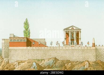 This illustration of the Temple of Hercules at Cora was done by the French architect Theodore Labrouste (1799-1885). Cora is a town in central Italy, 28 miles southeast of Rome. On the summit of the upper town stands the small Doric temple of the god Hercules (89–80 BC). - Stock Photo
