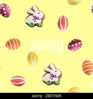 Attributes of the chrestian Easter holiday on a yellow background: multicolored painted eggs and Easter gingerbread in the form of a rabbit. Pattern - Stock Photo