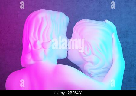 sculpture of a kissing couple in pink-blue lighting close up. 3d rendering - Stock Photo