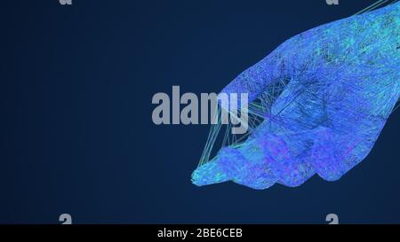 Artificial Intelligence giving hand connection lines, AI machine learning help concept, techie blue background, 3d illustration - Stock Photo