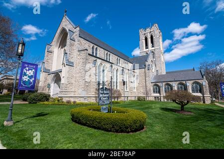 The First United Methodist Church on Market street, opened in this location in 1927, Warren, Pennsylvania, USA - Stock Photo