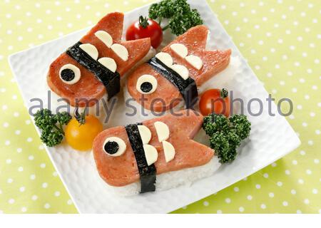 Koinobori shaped Spam Rice Ball - Stock Photo