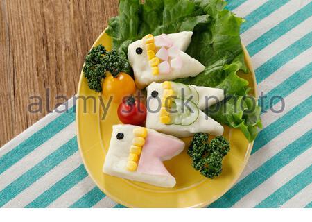 Koinobori shaped Potato Salad - Stock Photo