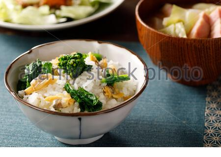 Field mustard rice and Miso Soup of Spring Cabbage - Stock Photo