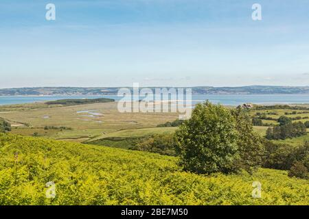 Loughor Estuary, view from Gower Peninsula, Swansea, South Wales, UK - Stock Photo