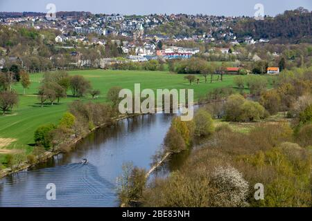 Landscape in the south of Essen, view from Kettwig over the Ruhr valley to Essen-Werden, Germany, - Stock Photo